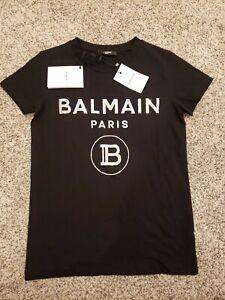 BALMAIN PARIS TSHIRT METALLIC LOGO BLACK 10 YOUTH