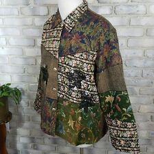 Quizz Woman Blazer Plus Sze 22 Green Beige Patchwork Victorian Lace Brass Button