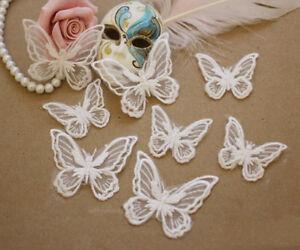 Bridal Dress Lace Applique Embroidery Wedding Costume Motif Butterfly Trim 4 pcs