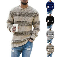 Mens Crew Neck Long Sleeve Chunky Cable Knit Jumper Pullover Winter Sweater Tops