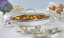 Stainless Steel Oval Buffet Server Party Chafer Catering Food Warmer Dish Tray