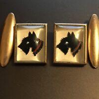 Vintage 1930s Art Scottie Dog Black West Highland Terrier Crystal Gilt cufflinks