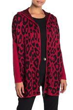 Joseph A. New $78 Modern Leopard Hooded Zip Front Sweater Small