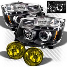 For 04-15 Titan, 04-07 Armada Halo LED Projector Headlights+Yellow Fog Lights