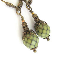 GLASS Earrings ~ GREEN CZECH GLASS BRONZE DANGLE RUSTIC VINTAGE STYLE BEADED