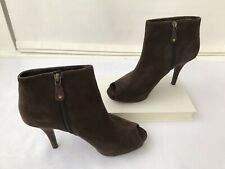 Rockport Sasha Platform Booties Peep Toe Brown Suede 9 Zipper Stilettos Pumps