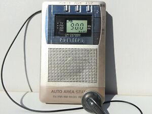 AIWA CR-DS705 Radio Receiver 3Band FM/AM/TV Retractable Headphone Auto Area Bank