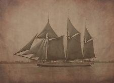 """1908 Photo, Schooner Boat, Sailing, antique, vintage view, 20""""x16"""" Canvas"""