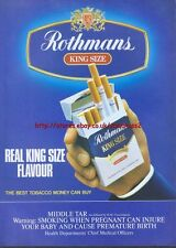 Rothmans King Size Cigarette 1987 Magazine Advert #2875