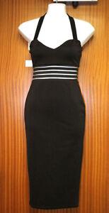 Boohoo Black White Striped Slimline Stretchy Fitted Dress UK 8 EUR 36 USA 4