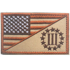 U.S. FLAG III 3% THREE PERCENTER 3D USA ARMY TACTICAL MILITARY EMBROIDERED PATCH