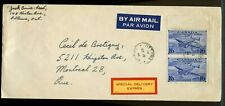 2 x 16c airmail special Delivery 1946 domestic  PEACE issue cover Canada