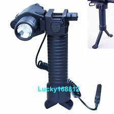 Tactical Rifle Foregrip Bipod Fore Grip + Green Laser Sight +CREE LED Flashlight