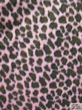 "LEOPARD PRINT POLAR FLEECE FABRIC  -  Pink - 36""X60"" WIDTH SOLD BTY  - 577"