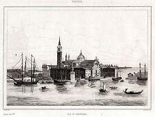 VENEZIA:ISOLA DI SAN GIORGIO MAGGIORE.Lombardo-Veneto.ACCIAIO.Stampa Antica.1838