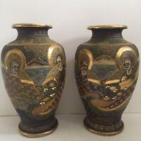 "Pair Of Satsuma Vases w/ Wise Elders  12.5"""