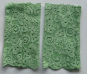 Stulpen handgenäht Handarbeit neu Spitze grün 14,5 cm lang 8 cm breit