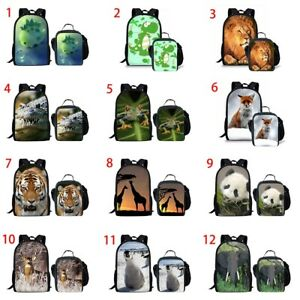 Fox Penguin Girls School Backpack Set Lunch Box Boys Rucksack Dinosaur Satchel
