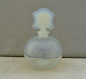 SABINO GLASS ART DECO OPALESCENT PERFUME BOTTLE BASKET OF FLOWERS STOPPER SIGNED