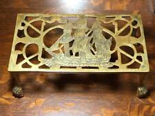 Antique Brass Sail Boat Claw Foot Iron Rest