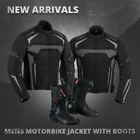 Motorbike Leather Shoes Racing Boots Waterproof Motorcycle Textile Jacket Coat