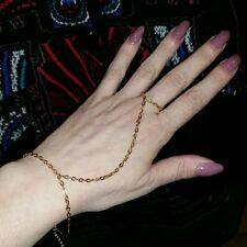 Gold Plated Simple Chain Slave Bracelet Hand Ring Attached Gypsy Belly Dance NEW