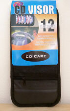 12 Disc Capacity Visor CD Holder w/zipper Pouch Black