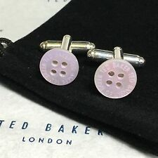 MENS TED BAKER MOTHER OF PEARL LILAC SHIRT BUTTON SILVER PLATED CUFFLINKS + BAG