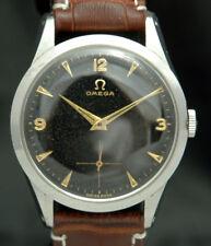 1950s OMEGA MENS WATCH 266 17J 2750-7 VTG RARE Black & Gold Dial STAINLESS STEEL