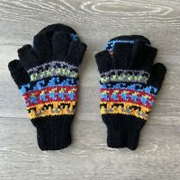 Vintage Fingerless Convertible Knit Bolivia Lamb Wool Gloves Mittens Black Blue