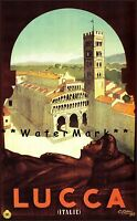 Lucca Italy 1952 Travel Tuscany Vintage Poster Print Retro Style Wall Decor Art