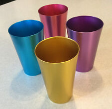 Colorful Aluminum Drinking Cups Set of 4, Colored Metal Tumblers, Shatter Resist