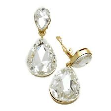 Gold Tone Clear Clip on Earrings Dangly Drop Prom Bridal Party Long Sparkly 211
