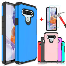 For LG Stylo 6 Shockproof Phone Case Cover With Tempered Glass Screen Protector