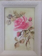 Shabby Chic Pink Rose In White Frame Handpainted Oil On Canvas Signed