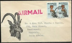 Botswana 1967 Airmail Cancelled to Pretoria, Tied with Maun CDS Dated 13/3/67