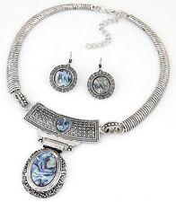 Fashion Women Chain Pendant Crystal Statement Collar Bib Necklace Set Earrings