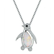 Fashion Silver Penguin White Imitation Opal Pendant Necklace Couple jewelry