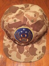 NWT POLO RALPH LAUREN RRL ARMY CAMO 6 PANEL 8 GLOBE 3 STAR PATCH LRG COTTON HAT