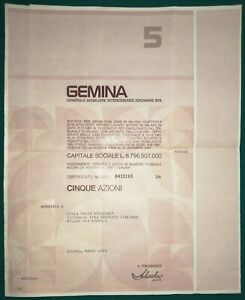 Certificato azionario Società Gemina (Milano), titolo da 5 azioni - 1978