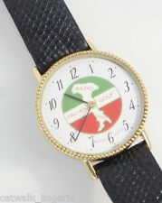 Bulova Men's Reno Italian Golf 1983 Watch Gold Tone Case Black Leather Strap