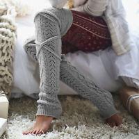 Winter Long Leg Warmers Knitting Knee High Socks Women Boot Topper Sock Stock 9K