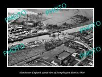 OLD LARGE HISTORIC PHOTO MANCHESTER ENGLAND AERIAL VIEW OF DUMPLINGTON c1950