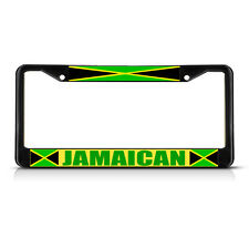 JAMAICA FLAG JAMAICAN COUNTRY  Black Heavy Duty Metal License Plate Frame