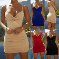 Womens V-Neck Camisole Tunic Slip Stretch Spaghetti Strap Tank Top Mini Dress