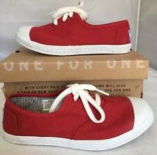Toms Zuma Unisex Shoes Size 2 Young Red Canvas