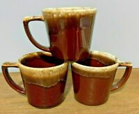 Vintage McCoy USA Brown Drip Mirror Glaze Coffee Mugs Cups D Handle - Set of 3