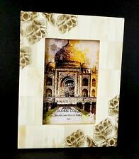 Photo Frame Natural Bone With Brown Floral Design Corners Handmade In India 4x6