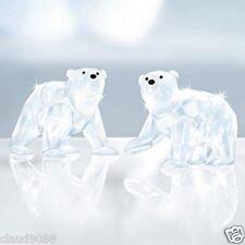 SWAROVSKI SILVER CRYSTAL 2011 POLAR BEAR CUBS WHITE OPAL 1080774 MINT IN BOX