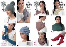 King Cole 4369 Knitting Pattern Hats, Scarf, Neck Warmers, Socks and Gloves